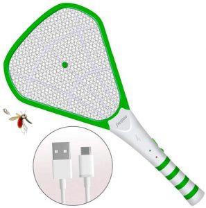 raqueta matamoscas con carga USB