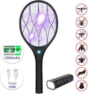 raqueta mosquitos eléctrica